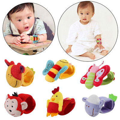 Baby Infant Animal Soft Hand Wrist Band Bracelets Rattles Developmental Toy Gift