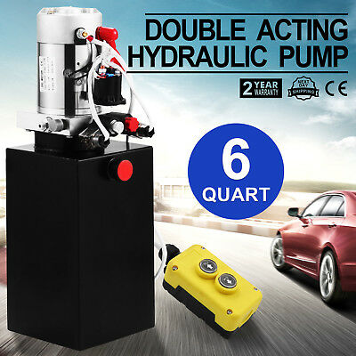 Hydraulic Double Acting Pump 12V DC - 6 Quart Metal Reservoir Pro