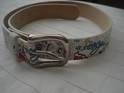 Roxy Girls Surf Skate Belt White with Colorful Graffti Art Size Small 33""