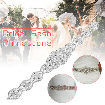 Rhinestone Crystal Applique Wedding Bridal Dress Sash Party Beaded Sparkle Belt