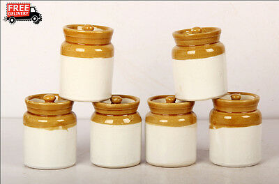 Set Of 6 New Hand Carved Unique Pickle Sugar Kitchen Commodity Jar No 3/4, 8165