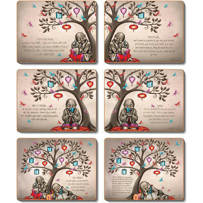 TREE OF DREAMS Set of 6 Placemats and Coasters Lisa Pollock Cork Back