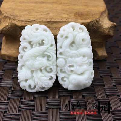 100%Chinese Pure natural jade hand-carved Dragon and phoenix Pendants One pair