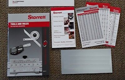 Starrett Reference Material: Tools & Rules Book, Machinist Pocket Cards, Notepad
