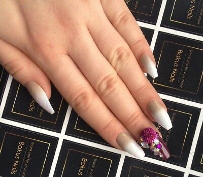 Hand Painted False Nails Nude Purple French Gold Coffin Nail Art Full Cover Tips