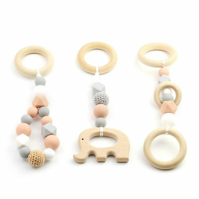 3Pcs Stroller Toy Wooden Ring Animal Teether Silicone Beads Baby Play Gyms Toy