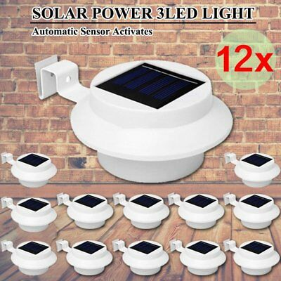 12X 3 LED Solar Powered Gutter Fence Lights Outdoor Garden Wall Pathway Lamp LO