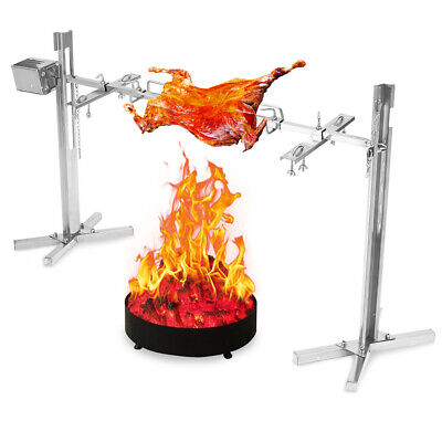 220V Large Stainless Steel Grill Rotisserie Spit Roaster Rod Charcoal Lambs BBQ