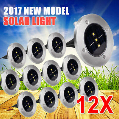 12x Solar Powered LED Buried Inground Recessed Light Garden Outdoor Deck Path ON