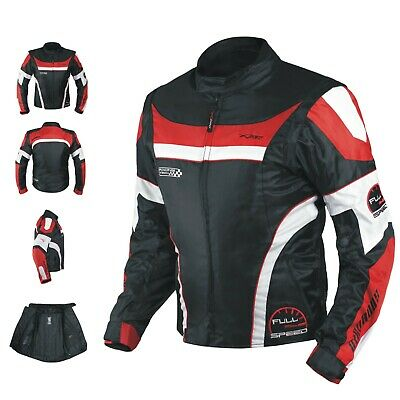 Mens Waterproof Textile Winter Motorcycle Motorbike Nylon Fabric Jacket CE Red