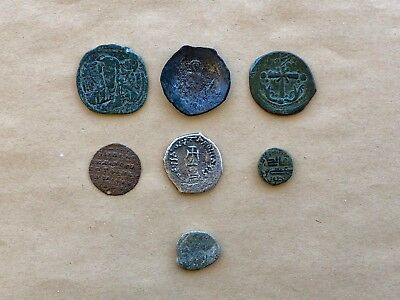 Lot Of 7 Byzantine Coins Including 1 Hexagram And 1 Billon