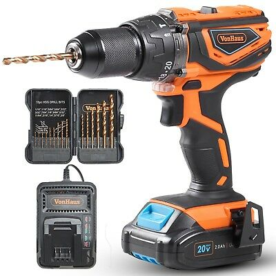"""VonHaus Cordless Drill Driver 1/2""""with Hammer Drill, Battery & Charger Kit - 20V"""