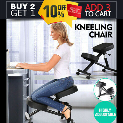 Adjustable Kneeling Chair Office Stool Stretch Knee Yoga Posture Seat Sit Black
