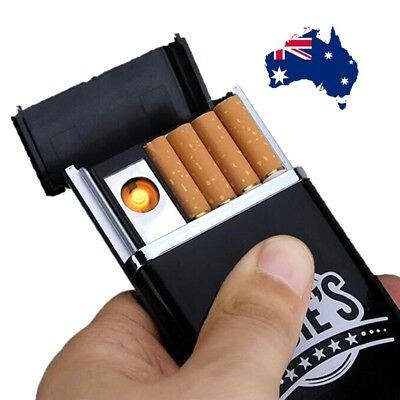 USB Coil Electric Lighter Rechargeable Windproof Flameless and Cigarette Case