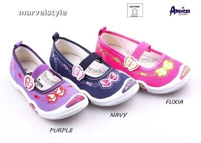 GIRLS CANVAS SHOES SNEAERS PUMPS UK size 9-12 / EUR 27-30 - Leather Insoles!