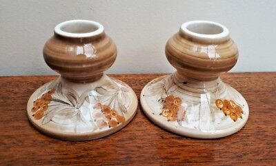 Pair of Free Hand Painted Jersey Pottery Short Candlesticks VGC