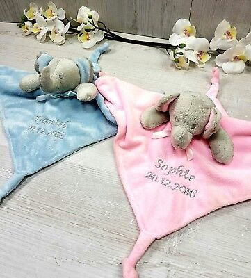 Personalised Comforter Embroidered Baby Blue Pink Baby Newborn Gift Elephant