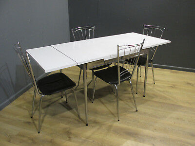 ORIGINAL VINTAGE RETRO 70's CHROME AND WHITE EXTENDING TABLE AND CHAIRS