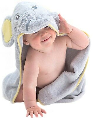 Little Tinkers World Elephant Hooded Baby Towel, Natural Cotton, Large 30x30in