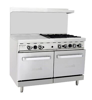 "Migali C-RO4-24GL 4 Burner Range Oven with 24"" Griddle Natural Gas"