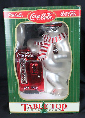Vintage Coca Cola Polar Bear Mercury Glass Table Top Figure Coke New in Box 9""