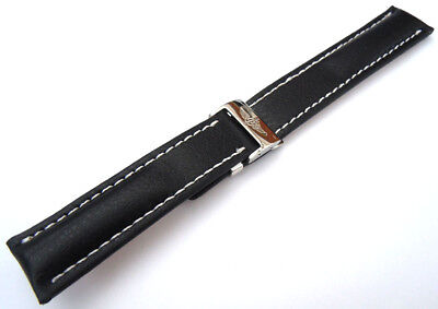 Black 20mm Leather Watch Strap For Breitling Deployment Clasp