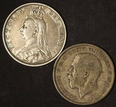 1890 and 1920 One Florin UK - Free Shipping USA