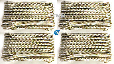 """(4) Gold/White Double Braided 1/2"""" x 25' HQ Boat Marine DOCK LINES Mooring Ropes"""
