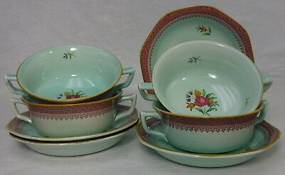ADAMS wedgwood china LOWESTOFT later stamp CREAM SOUP  BOWL & SAUCER set of FOUR