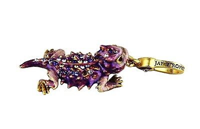 Jay Strongwater Charming Super Rare Purple Horned Frog Charm Swarovski Box Usa