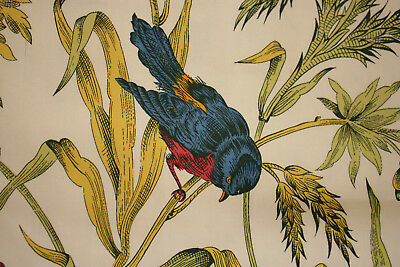 Vintage French pillow case or cover colorful floral and bird pattern Boussac
