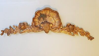 Antique French Gilt Bronze Ornate Pediment Furniture Mount 19thc