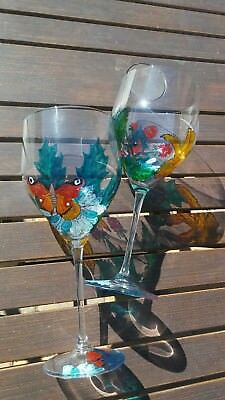 Wine Glasses Hand Painted Large 24 Oz Set Of 2 Flowers Butterfly Birthday Gift