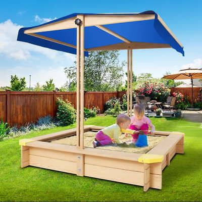 Kids Sand Pit Wooden Outdoor Canopy Children Backyard Sandpit Toy Box Play Set