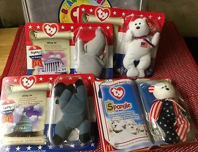TY Amer. TRIO McDonald's Set of 3,1996 Election, SPANGLE Retired Beanie Babies