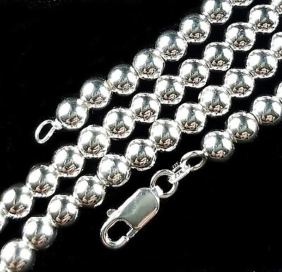 5MM Solid 925 Sterling Silver Italian Round HOLLOW BEAD Chain Necklace Italy