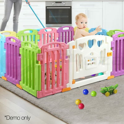 13 Panel Baby Playpen Kids Toddler Plastic Gate Safety Divider Lock Play Box
