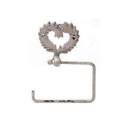 SALE SAVE 50% Shabby Chic Style Iron Wall Toilet Roll Holder Heart Distressed
