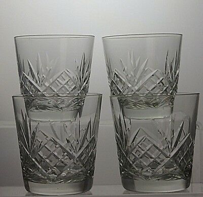 Lead Crystal Cut Glass Whisky Tumblers Set Of 4