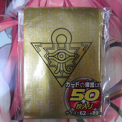 100 Yugioh Small Size Card Sleeves Deck Protector - Millennium Puzzle Black/Gold