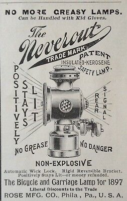 """1897 Ad(1800-27)~Rose Mfg. Co. Phil., Pa. The """"neverout"""" Kerosene Bicycle Lamp"""