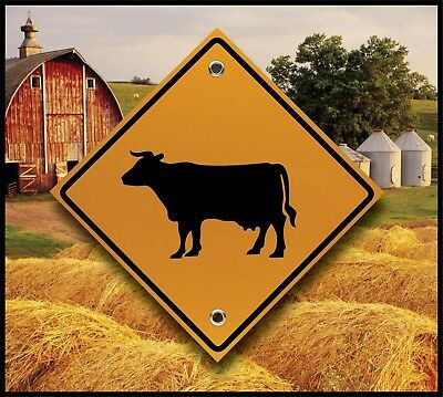 Cow Crossing Sign - Reflective Marker  - Dairy Farm - Fun Country Kitchen Decor