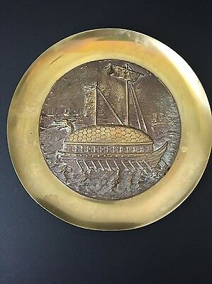 Vintage Brass Relief Wall Plate Plaque CHINESE JUNK Sailing Ship w/DRAGON HEAD