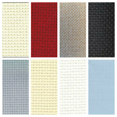 14ct DMC AIDA FABRIC~WHITE, BLACK, RED, ANTIQUE WHITE, GREY, BLUE, ECRU OR GOLD