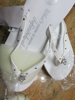 WEDDING BRIDE Wedge Flip Flops White Engagement Gift Idea Size XS Small 5-6 Rhin