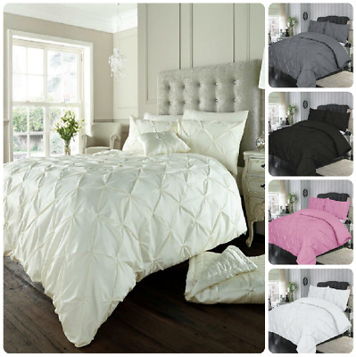 Pintuck DUVET COVER SET With Pillowcase - Diamond Alford Quilt Cover Bedding Set