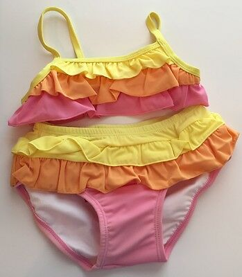 Gymboree Baby Girls 2T & 18-24 Swimsuit Pink Yellow Orange Ruffled Sunscreen 50+