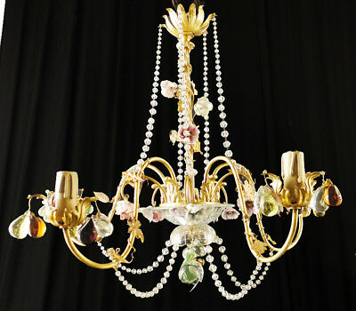 Antique french polished bronze and porcelain Louis XV chandelier