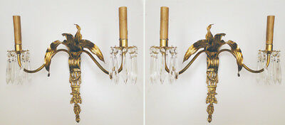 Antique french empire style bronze and glass pair of sconces (1142)