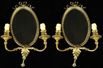 Antique french Louis XV style bronze and glass pair of sconces (1144)